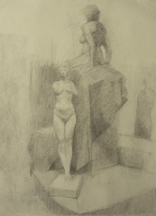Charcoal Drawing - Statues by Cynthia Harvey