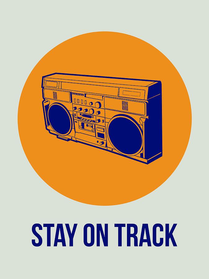 Funny Digital Art - Stay On Track BoomBox 1 by Naxart Studio
