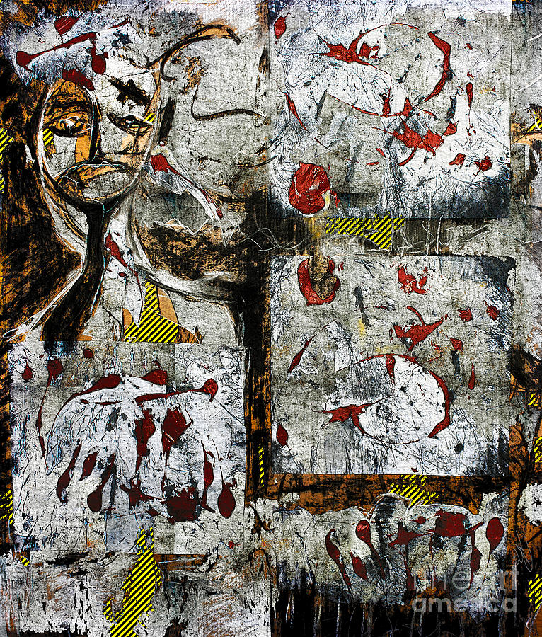 Abstract Mixed Media - Stay Out - Crime Scene by Nicole Philippi