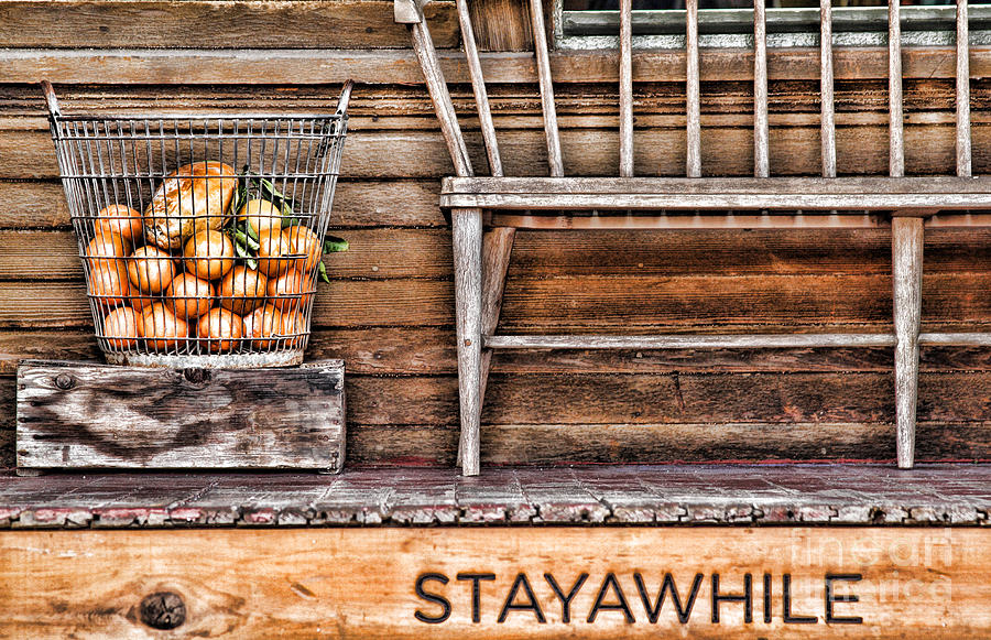 Bench Photograph - Stayawhile by Diana Sainz