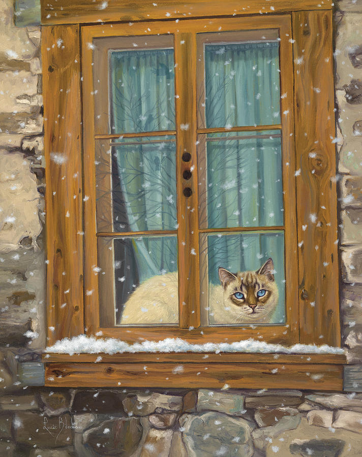 Cat Painting - Staying Warm by Lucie Bilodeau