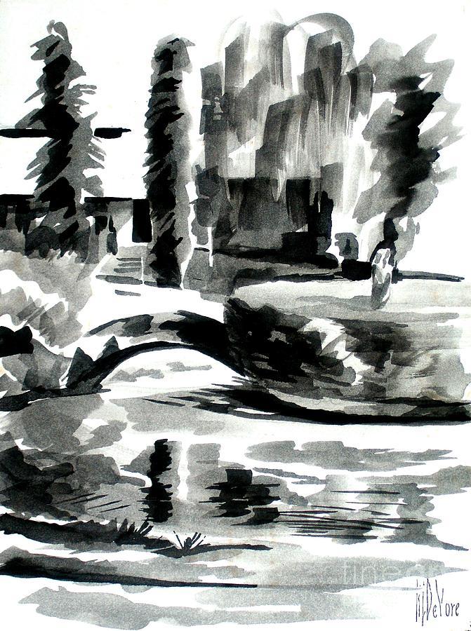 Grayscale Painting - Ste Marie Du Lac Pond And Parish by Kip DeVore