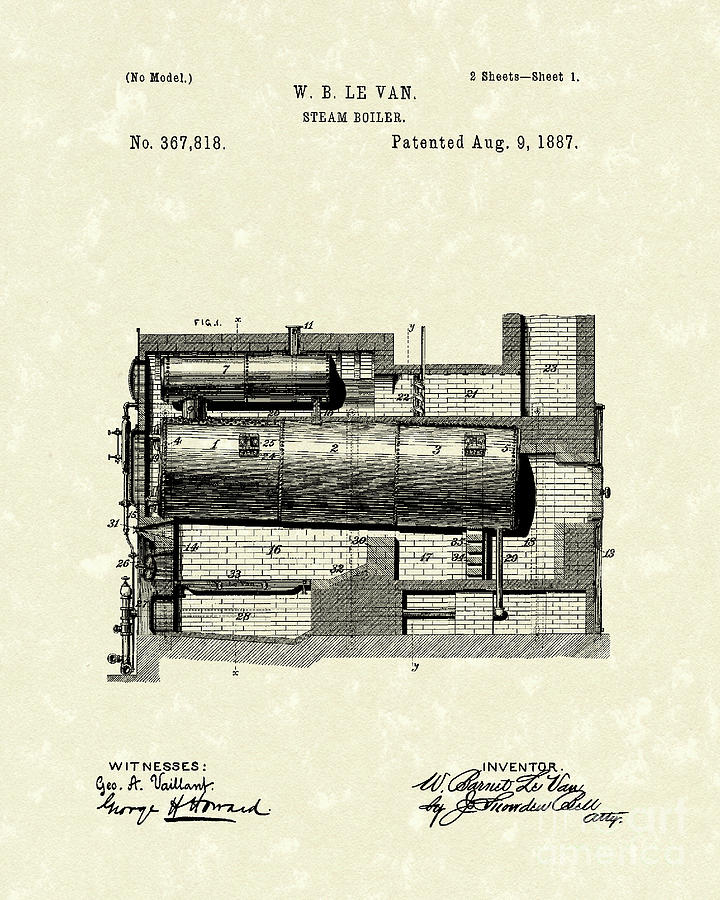 Le Van Drawing - Steam Boiler 1887 Patent Art by Prior Art Design