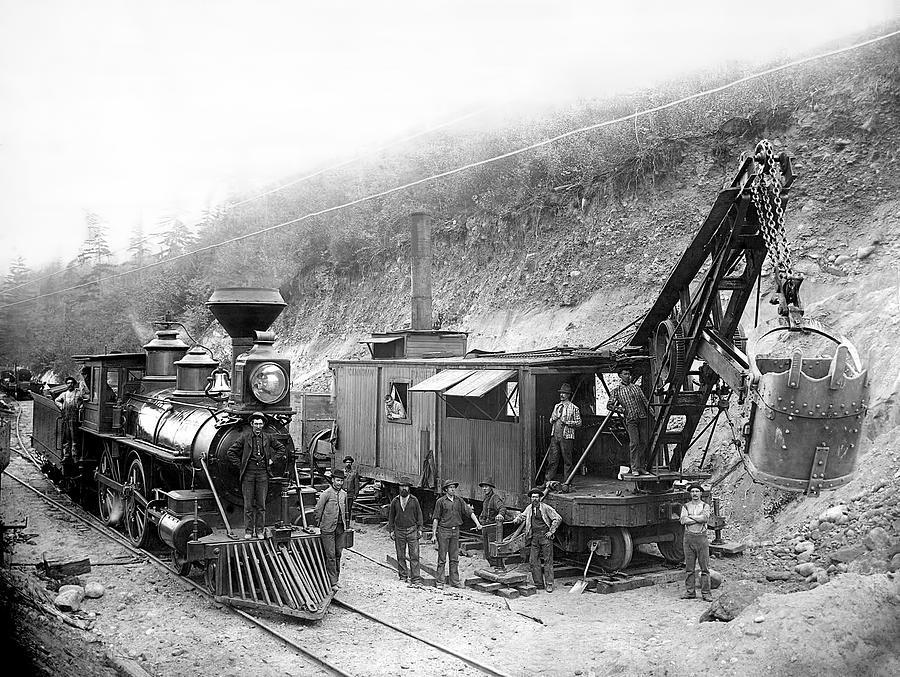 Locomotive Photograph - Steam Locomotive And Steam Shovel 1882 by Daniel Hagerman