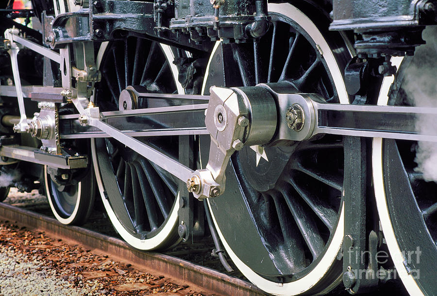 Components Photograph - Steam Locomotive Coupling Rod And Driver Wheels by Wernher Krutein
