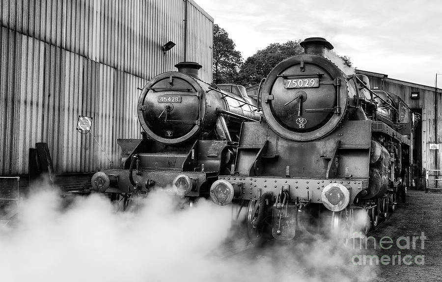 Grosmont Photograph - Steam locos Sir Eric Treacy and The Green Knight  by Janet Burdon