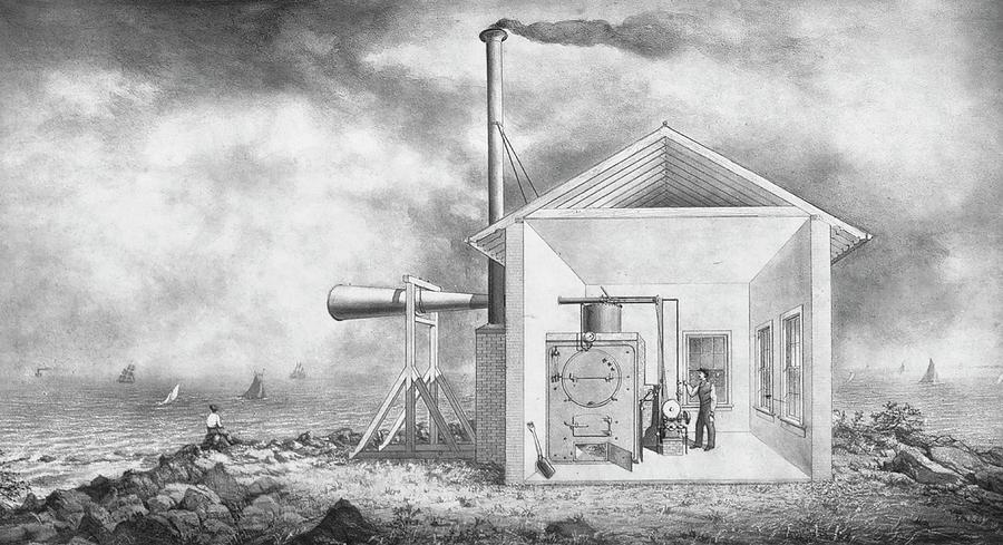 1870s Photograph - Steam-powered Foghorn by Library Of Congress/science Photo Library