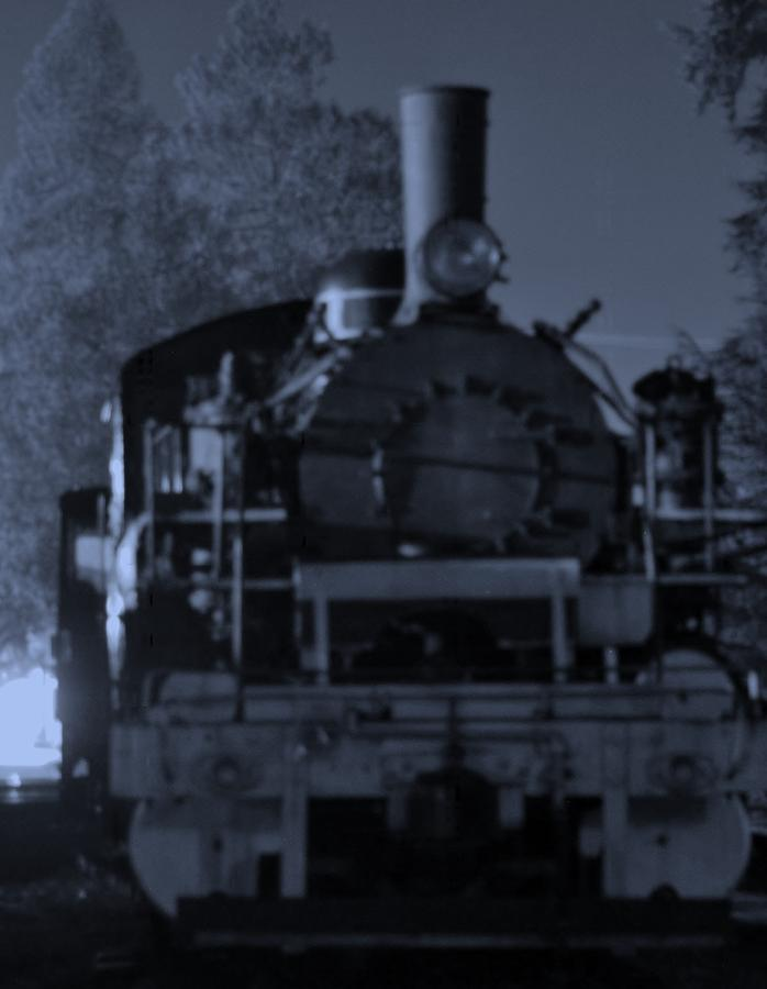 Steam Train Night Black & White Trees Old Boiler Photograph - Steam Train At Night by Donald Torgerson