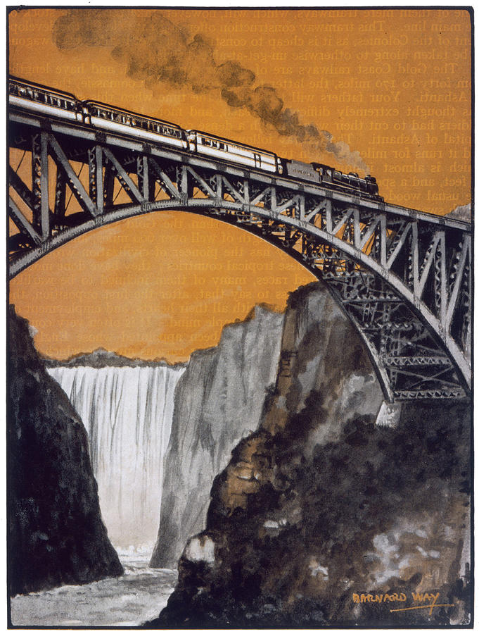 Steam Train Crossing The Bridge Drawing By Mary Evans Picture Library