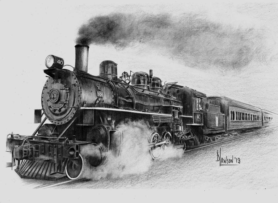 Steam Train Drawing by Dave Lawson