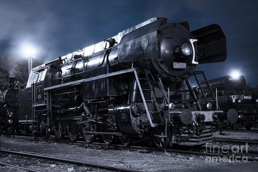Steam Photograph - Steam Train In The Night II. by Martin Dzurjanik