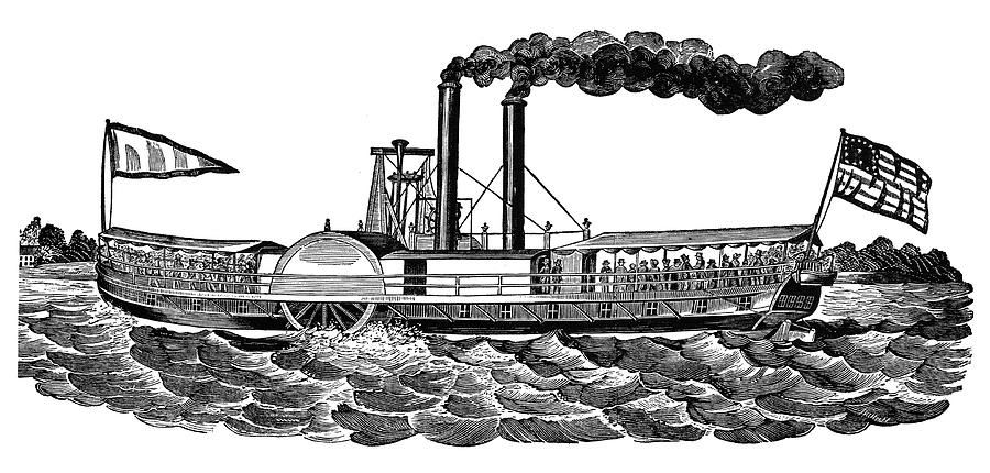 19th Century Painting - Steamboat, 19th Century by Granger