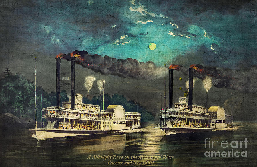 Steamboat Racing on the Mississippi by Lianne Schneider