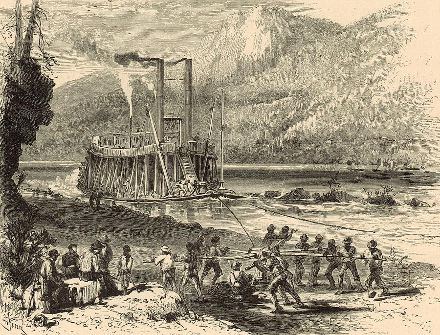 Steamboat Painting - Steamer On The Tennessee Warped Through The Suck - 1872 Engraving by Antique Engravings