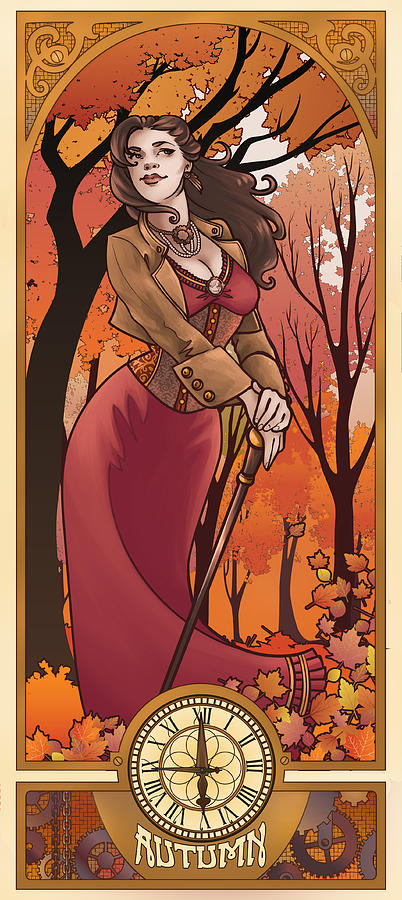 Mucha Digital Art - Steampunk Autumn by Dani Kaulakis