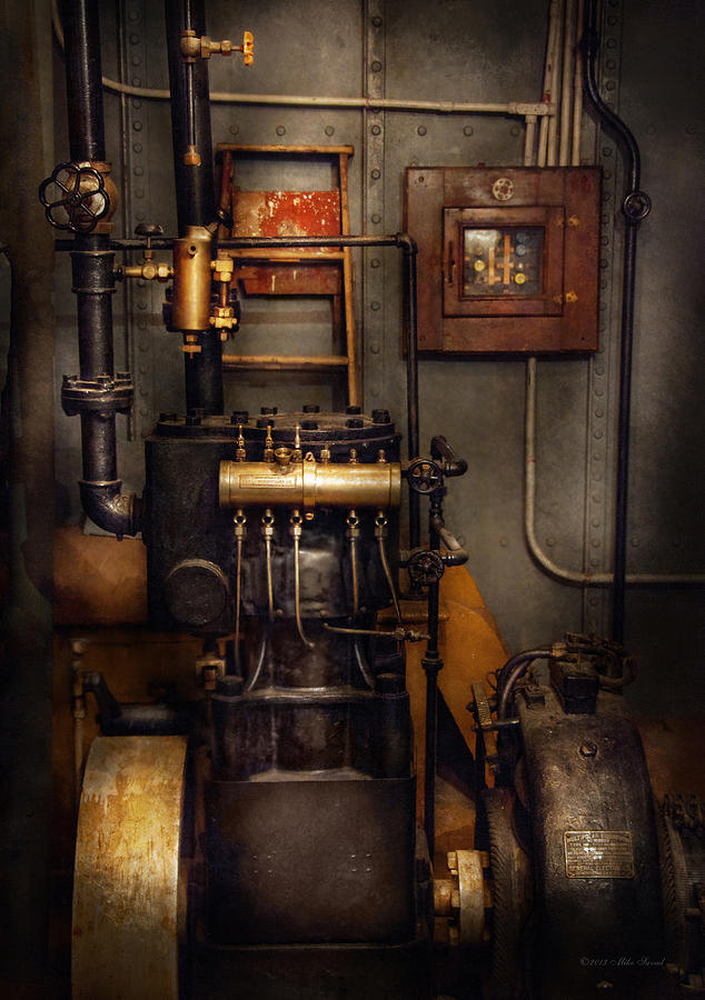 Hdr Photograph - Steampunk - Back In The Engine Room by Mike Savad