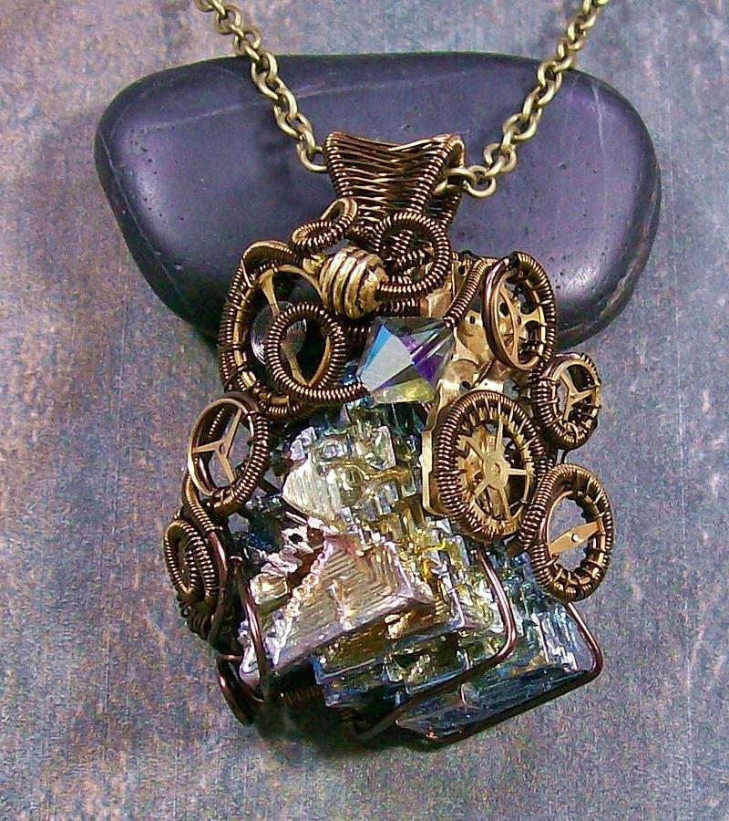 Wire Jewelry - Steampunk Bismuth And Swarovski Crystal Pendant In Bronze by Heather Jordan