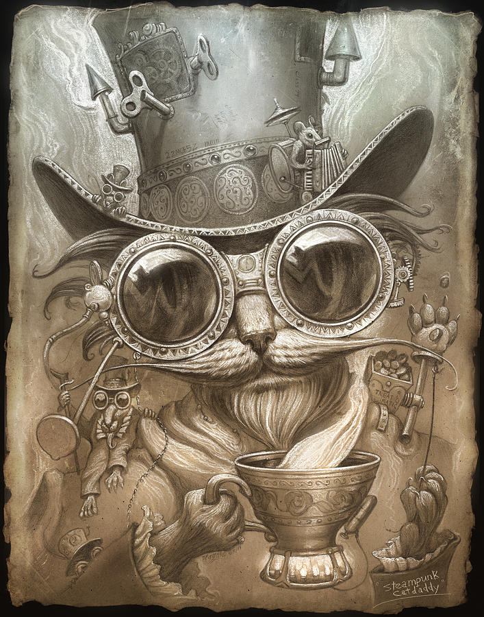 Cat Print Painting - Steampunk Cat by Jeff Haynie