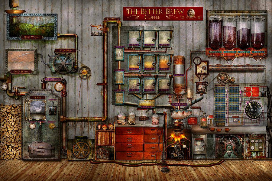 Self Digital Art - Steampunk - Coffee - The Company Coffee Maker by Mike Savad