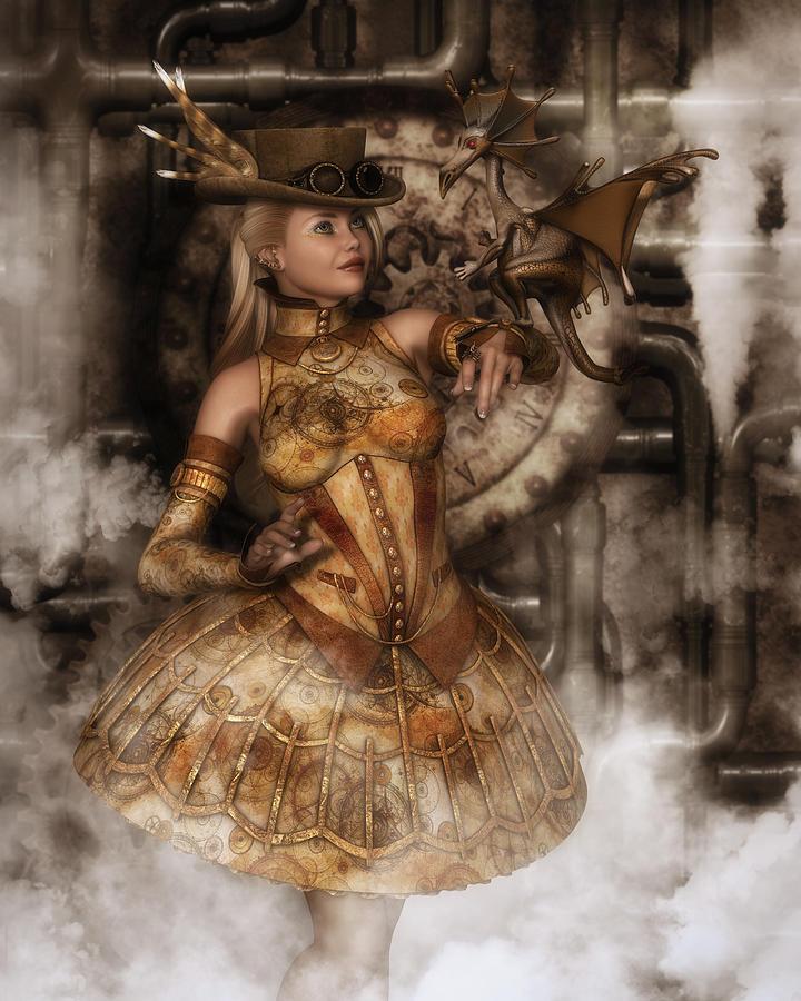 Steampunk Digital Art - Steampunk Dragon Friend by Rachel Dudley