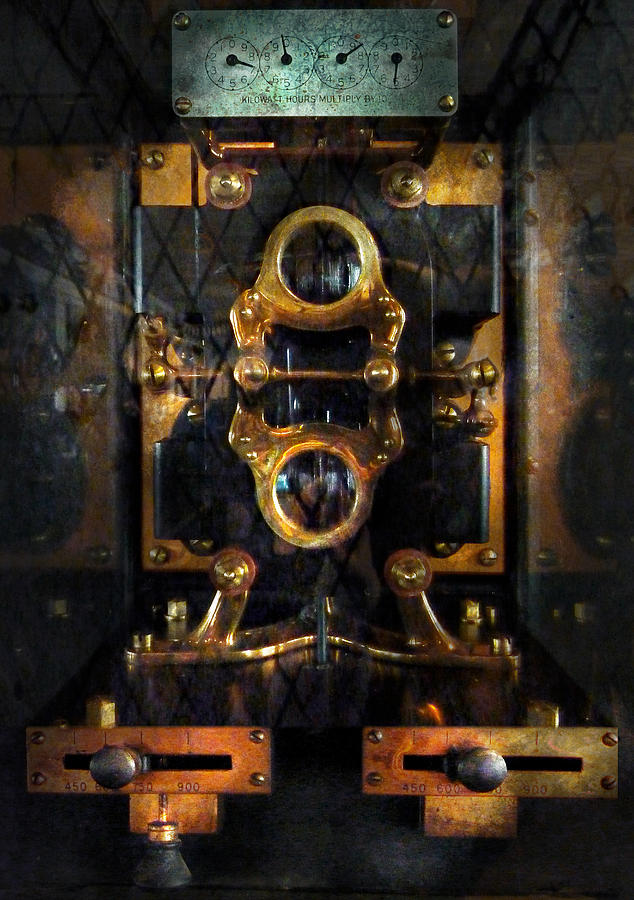 Hdr Photograph - Steampunk - Electrical - The Power Meter by Mike Savad