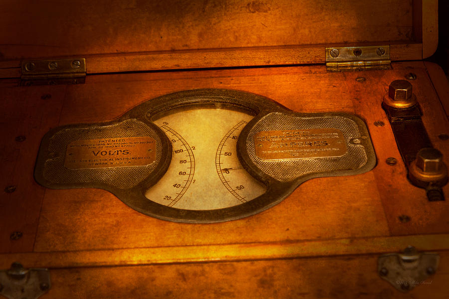 Building Trades Photograph - Steampunk - Electrician - The Portable Volt Meter by Mike Savad