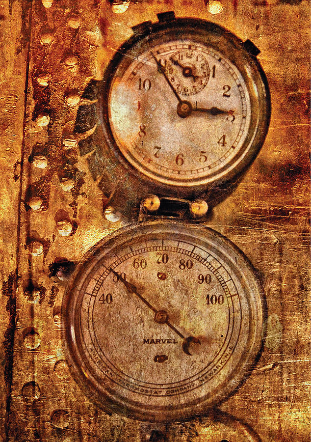 Savad Photograph - Steampunk - Gauges by Mike Savad
