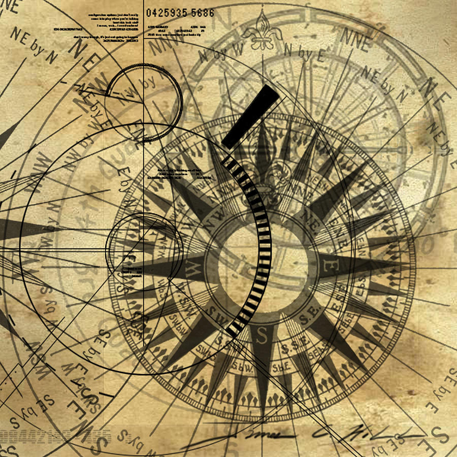 Steampunk Gold Compass Painting By James Christopher Hill