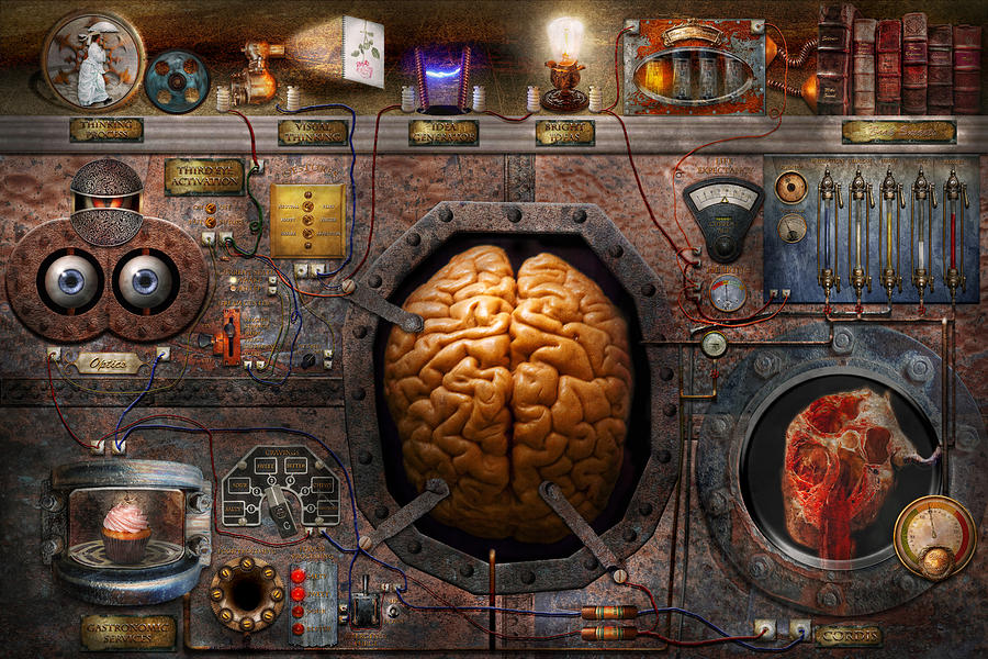 Brain Photograph - Steampunk - Information Overload by Mike Savad