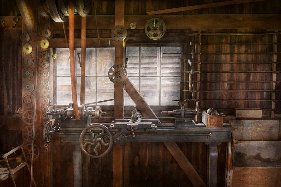 Savad Photograph - Steampunk - Machinist - My Tinkering Workshop  by Mike Savad