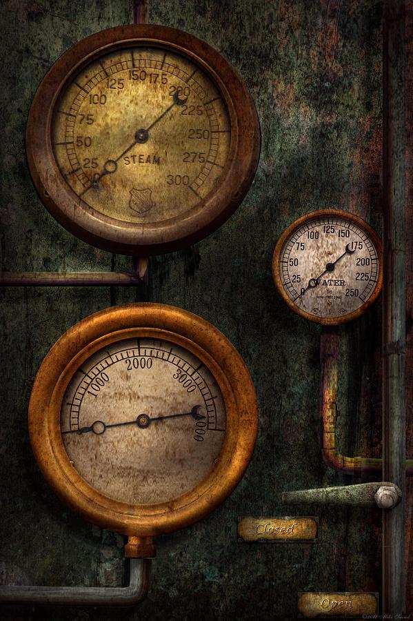 Steampunk Photograph - Steampunk - Plumbing - Gauging Success by Mike Savad