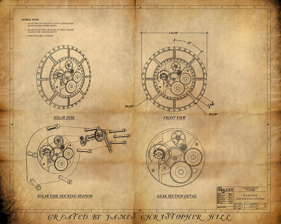 Clock Painting - Steampunk Solar Disk by James Christopher Hill