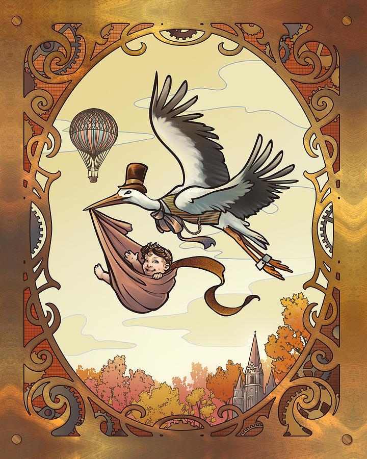 Baby Digital Art - Steampunk Stork by Dani Kaulakis