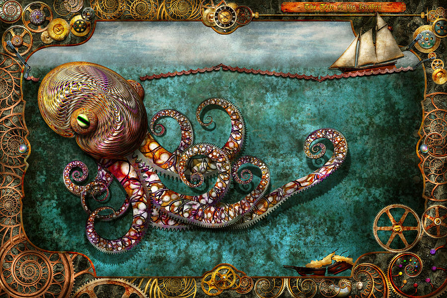Self Digital Art - Steampunk - The Tale Of The Kraken by Mike Savad
