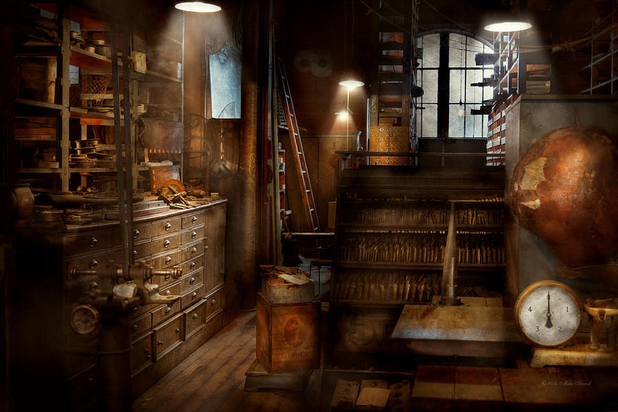 Steampunk tool room of a mad man photograph by mike savad for Interior decoration tools