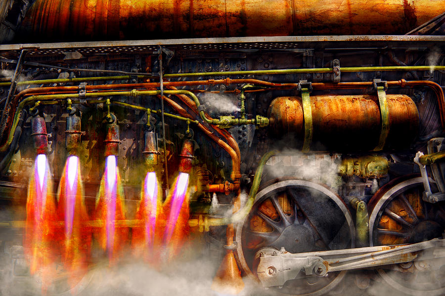 Steampunk Photograph - Steampunk - Train - The Super Express  by Mike Savad