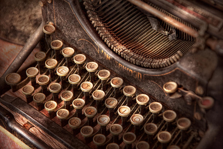 Steampunk Photograph - Steampunk - Typewriter - Too Tuckered To Type by Mike Savad
