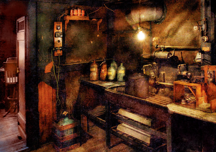 Savad Photograph - Steampunk - Where Experiments Are Done by Mike Savad