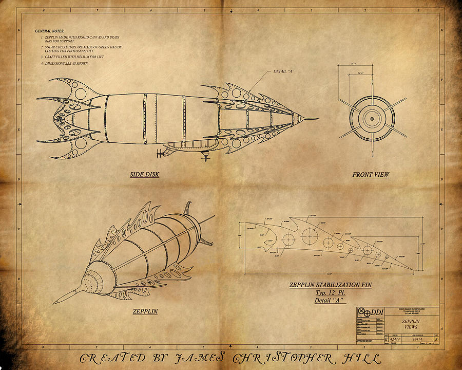 James Hill Studios Painting - Steampunk Zepplin by James Christopher Hill