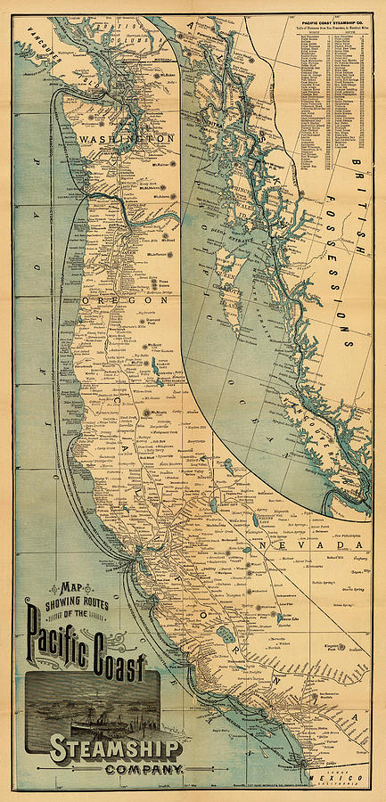 Steamship Photograph - Steamship Route Map 1896 by Andrew Fare