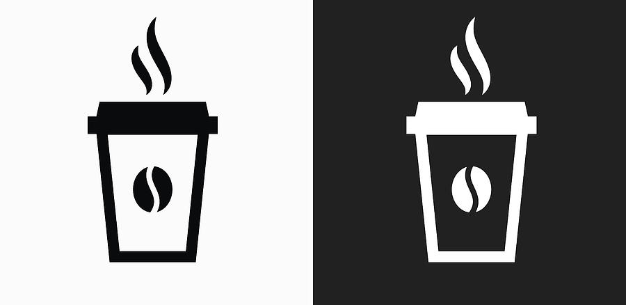 Steamy Coffee Cup Icon On Black And White Vector Backgrounds Drawing by Bubaone