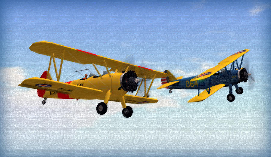 Boeing Digital Art - Stearmans At Play by Mark Weller