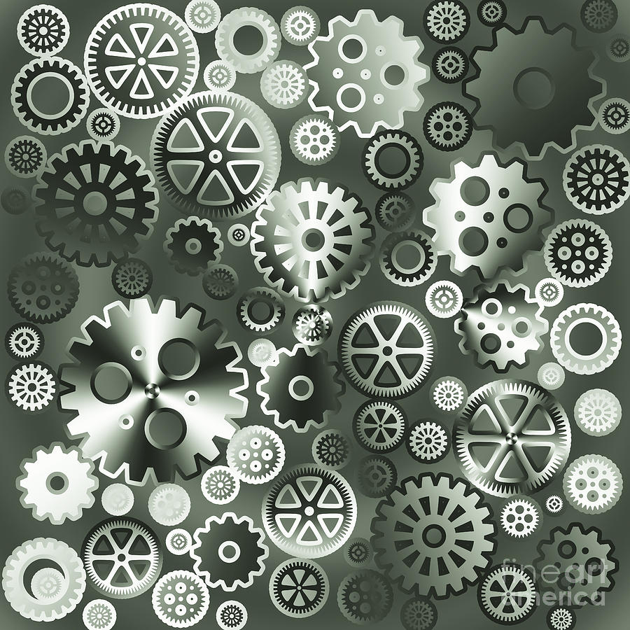 Industrial Digital Art - Steel Gears by Gaspar Avila