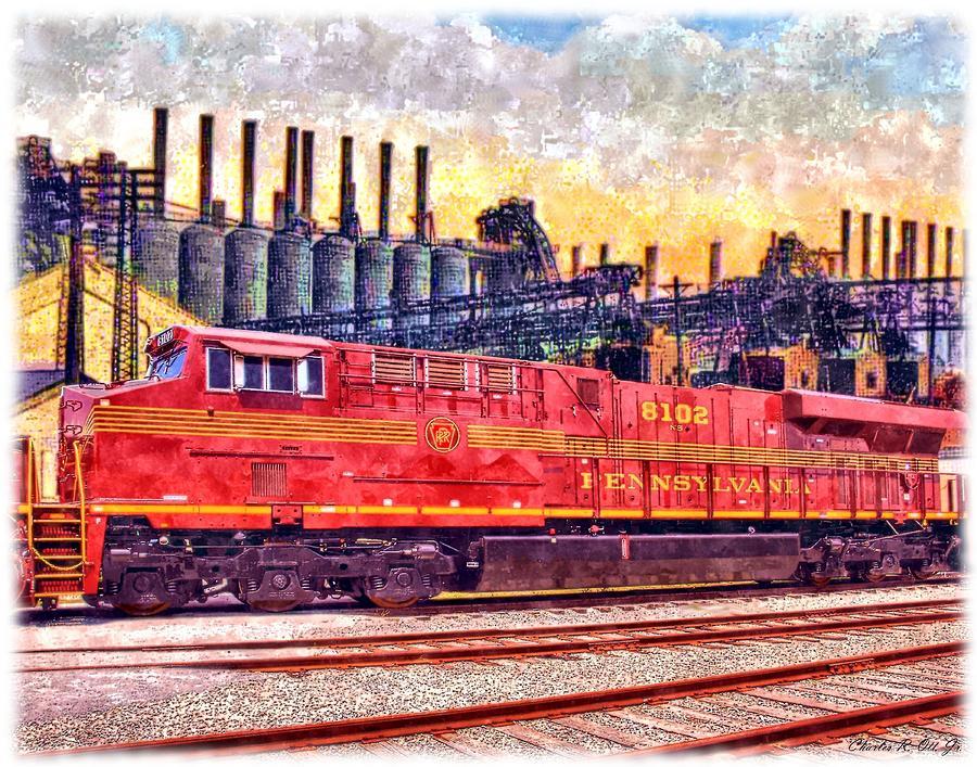 Design Painting - Steel Rails by Charles Ott
