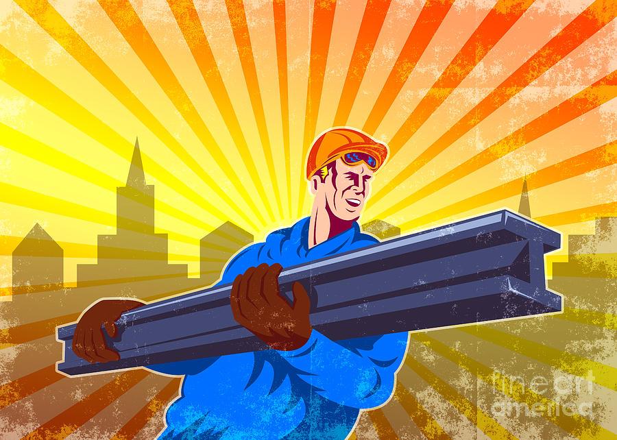 Construction Digital Art - Steel Worker Carry I-beam Retro Poster by Aloysius Patrimonio