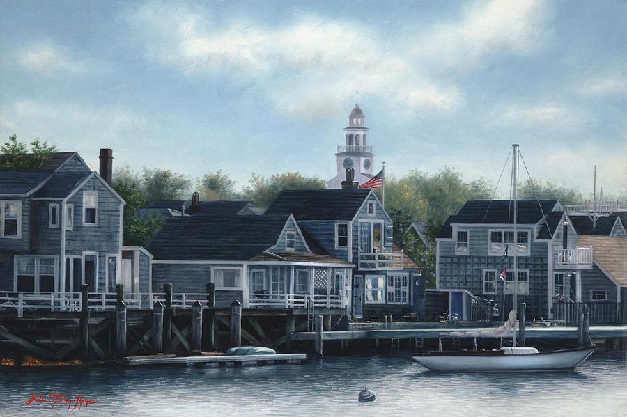 Nantucket Island Painting - Steeple View Nantucket by Julia OMalley-Keyes