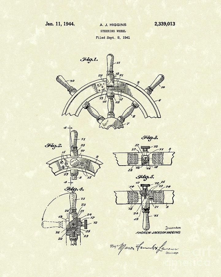 Higgins Drawing - Steering Wheel 1944 Patent Art by Prior Art Design