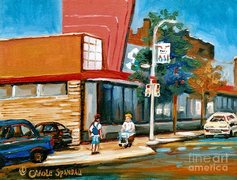 Montreal Painting - Steinbergs  On Van Horne Street Outremont Montreal Landmarks by Carole Spandau