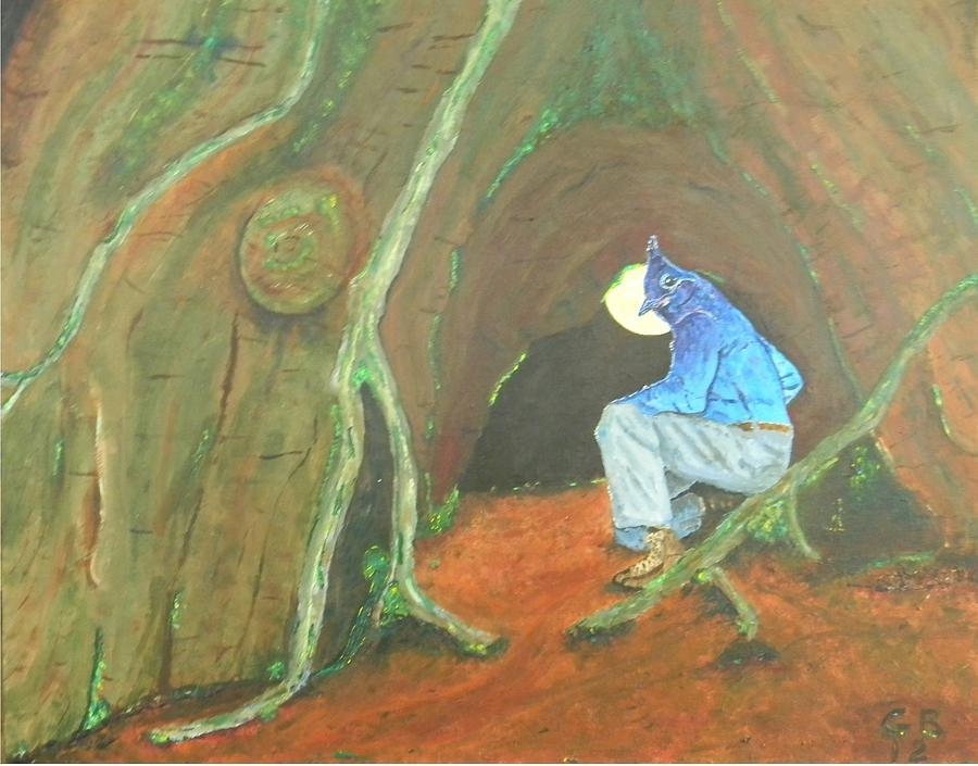 Stellar Jay Painting - Stellar Jay Begins His Journey...will You Follow? by Gilbert Bernhardt