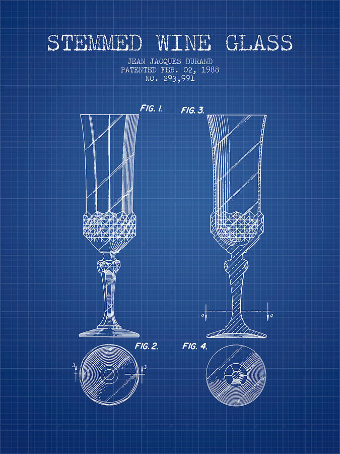 Stemmed wine glass patent from 1988 blueprint digital art by wine digital art stemmed wine glass patent from 1988 blueprint by aged pixel malvernweather